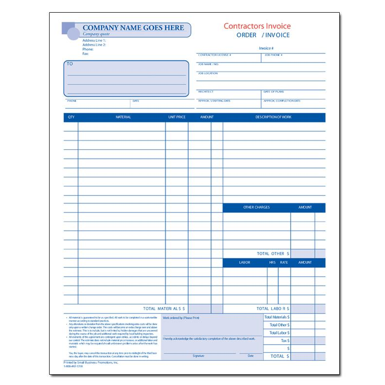 contractor work order estimate designsnprint