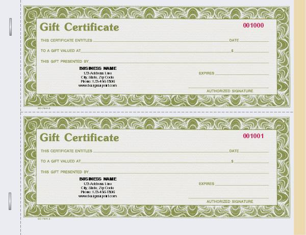 personalized gift certificates individual set designsnprint