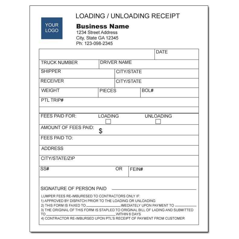 copy of lumper loading and unloading receipt