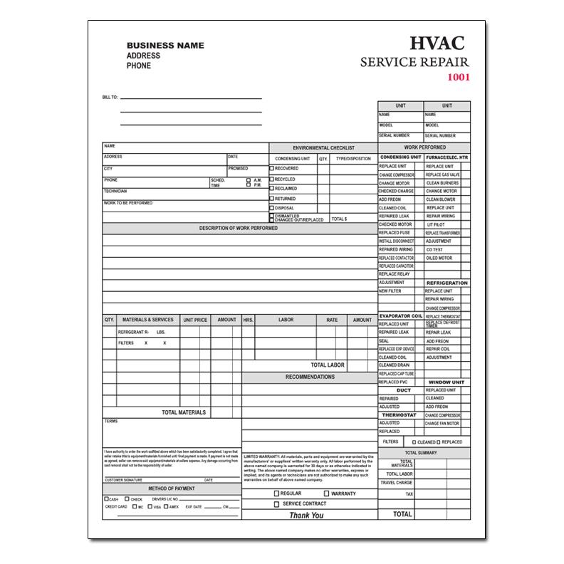 hvac service repair invoice