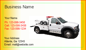 Image Tow Truck Business Card