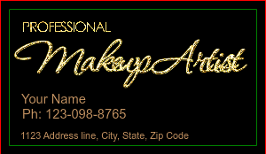 [Image: checkout with Gold Glitter Makeup Artist Business Card]