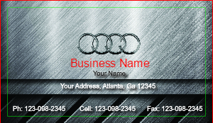 [Image: checkout with Audi Car Salesman Business Card]