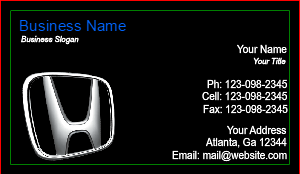 [Image: checkout with Honda Dealer Business Card]