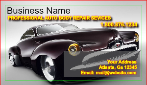 Auto body collision business cards designsnprint for Motor vehicle body repair