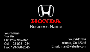 [Image: checkout with Honda Business Cards]