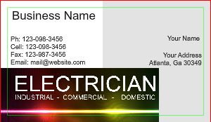 electrician business card design - Electrician Business Cards