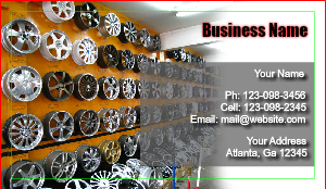 [Image: Auto Rims and Tire Sale Business Card]