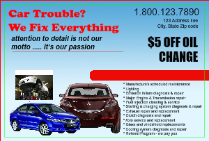 [Image: Auto Repair Advertising Postcard Flyer]
