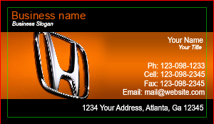 [Image: checkout with Honda Auto Dealer Business Card]