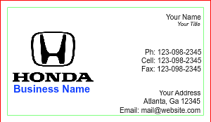 [Image: Honda Business Card Template]
