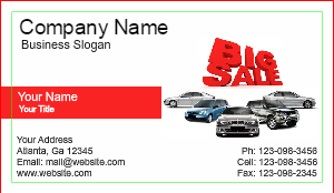 [Image: Auto Sales Business Card Design]