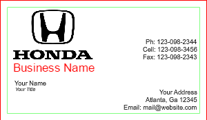 [Image: checkout with Honda Business Card Design]