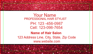 [Image: Red Glitter Beauty Salon Business Card]