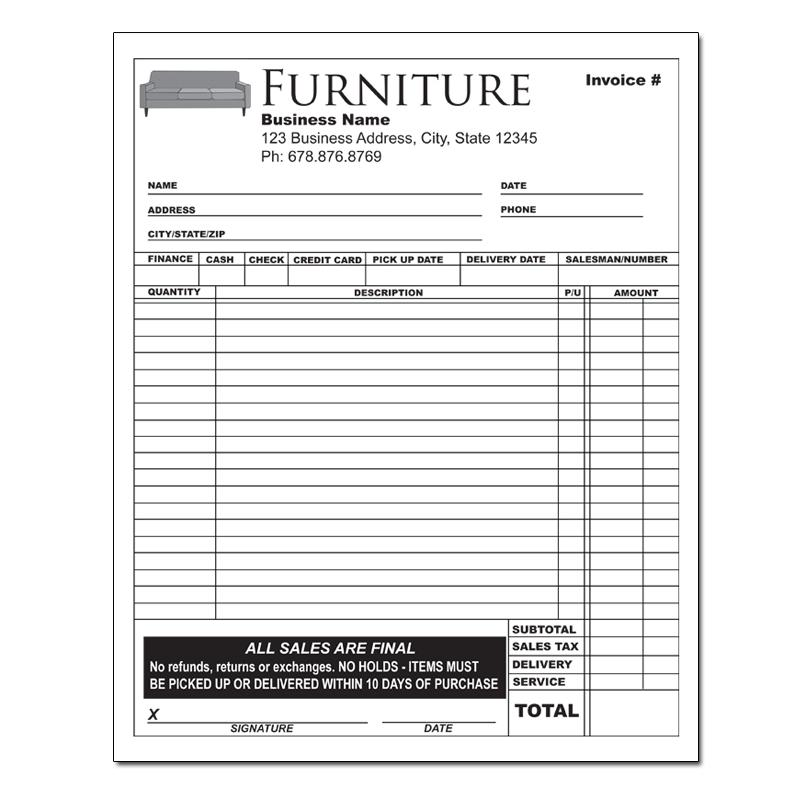 Furniture Invoice Receipts Retail Stores Designsnprint