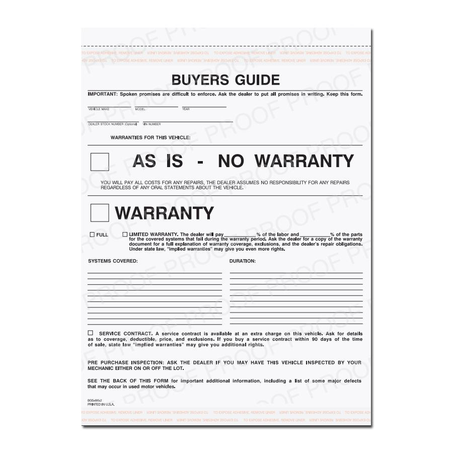 [Image: Buyers Guide Warranty Form]