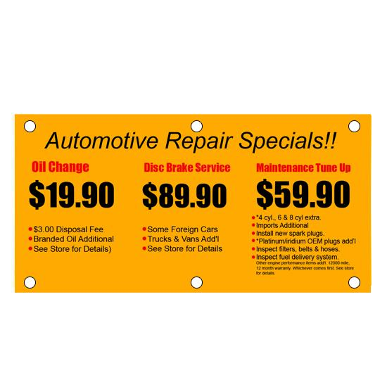 [Image: Automotive Repair Shop Advertising Vinyl Banner]