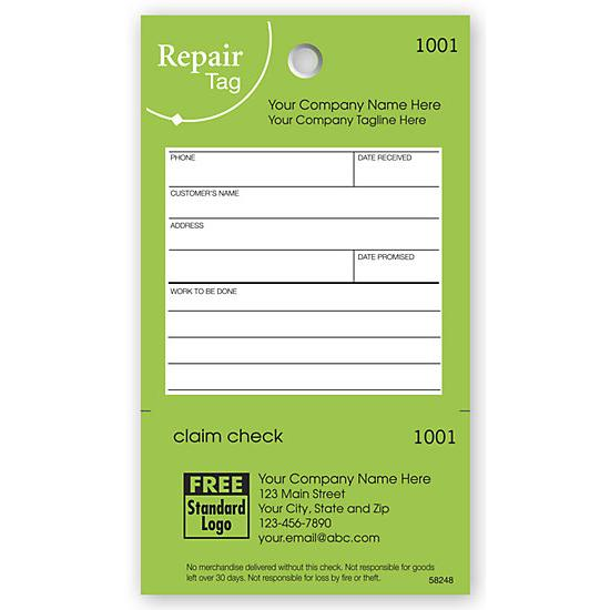 [Image: Repair Tag In Green With White Fill-In Space 3 1/8 X 5 1/2]