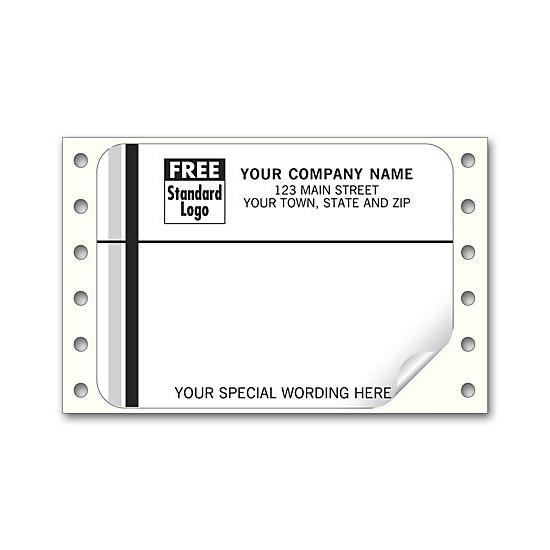[Image: Continuous Return Address Shipping Label, White With Black & Gray Stripe]