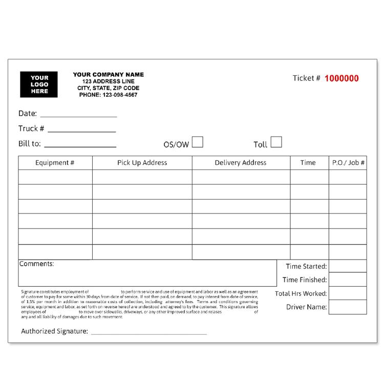 trucking company invoice tickets custom carbonless form. Black Bedroom Furniture Sets. Home Design Ideas