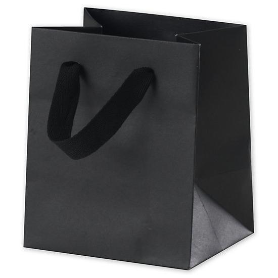 "[Image: Broadway Black Manhattan Paper Shopping Bag, 5 X 4 X 6"", Retail Bags]"