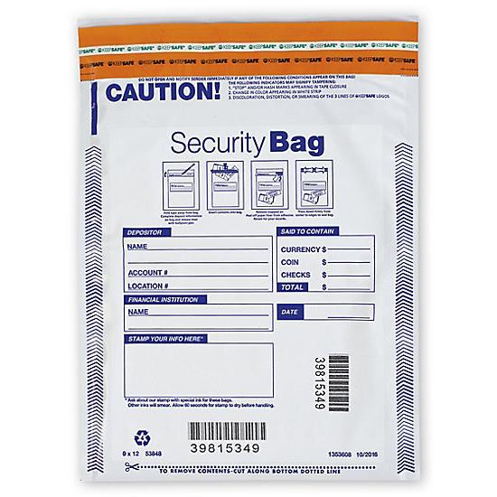 "[Image: 9 X 12"" Single Pocket Deposit Bag, Opaque]"