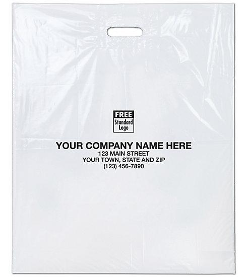 [Image: Large White Plastic Bags Custom Printed]
