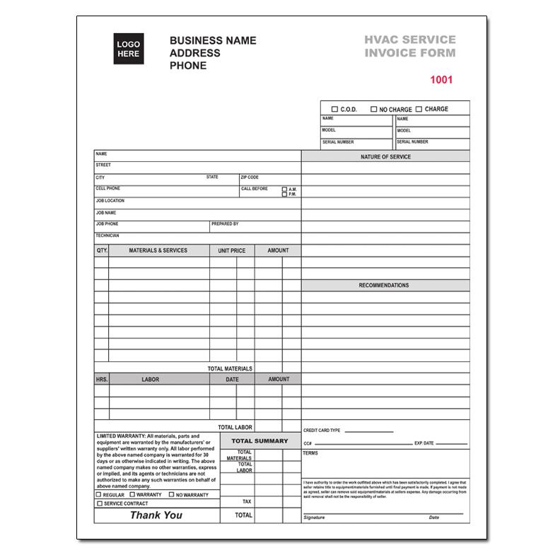 HVAC Contractor Invoice Form Custom Form Printing DesignsnPrint - Format for invoice for services for service business