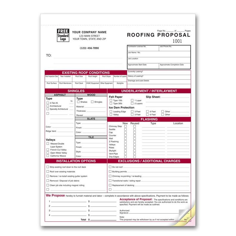 Image: Roofing Proposal Invoice Form]
