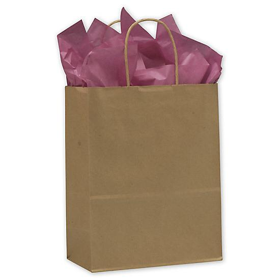 "[Image: Kraft Paper Shopping Bag With Handles & Square Bottom, 10 X 5 X 13"", Retail Bags]"
