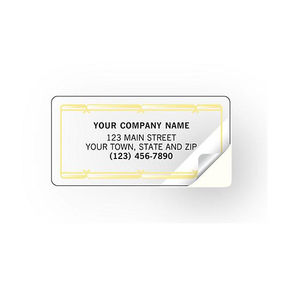 [Image: Advertising Labels With Gold Foil Border, Poly Film]