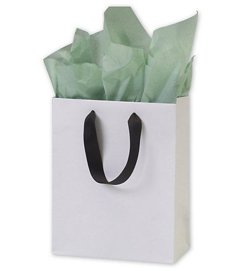 [Image: White Matte Laminated Euro Shoppers Retail Bags With Grosgrain Handle]