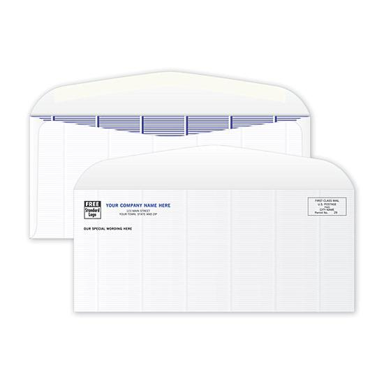 [Image: Business Check Envelope - Secure, Confidential,  Blue Tint Inside, Size 10, Personalized Printing]