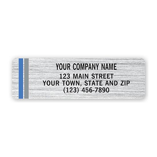[Image: Advertising Labels, Chrome Poly With Blue-Gray Stripes]