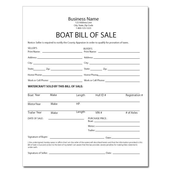 [Image: Boat Bill of Sale - Receipt]