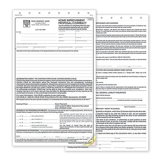 [Image: Home Improvement Proposal Contract For The State of California]