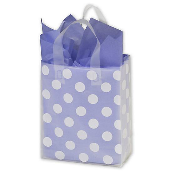 [Image: White Dots, Clear, Frosted Flex Loop Shoppers Bag - Small]