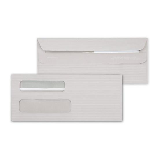 [Image: Business Check Envelope - Double Window, Self-Seal, Imprinted, Gray]