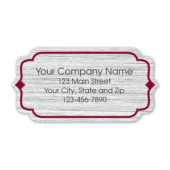 [Image: Bracket Label On Brushed Silver Poly With Red Trim 2x1]