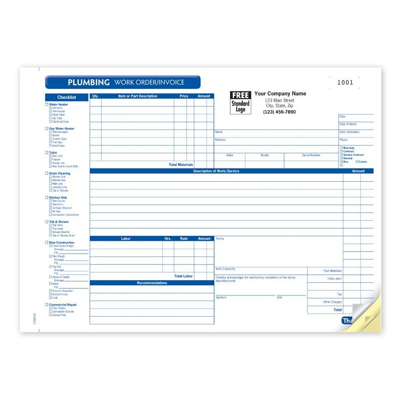 Plumbing Contractor Invoice Forms  Work Order  Designsnprint