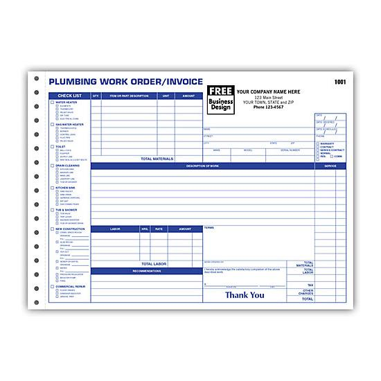 plumbing contractor invoice forms - work order