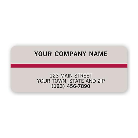 [Image: Advertising Labels, Gray With Maroon Stripe]