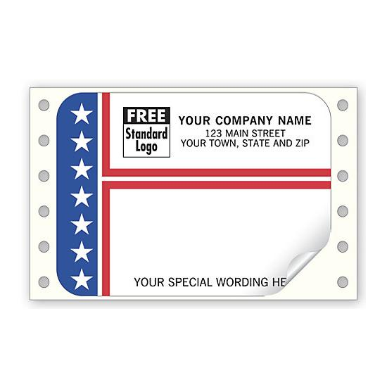[Image: Patriotic Shipping Labels, Continuous, Stripes & Stars]
