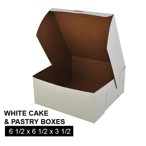 [Image: WHITE CAKE AND PASTRY BOX 6 1/2 x 6 1/2 x 3 1/2]