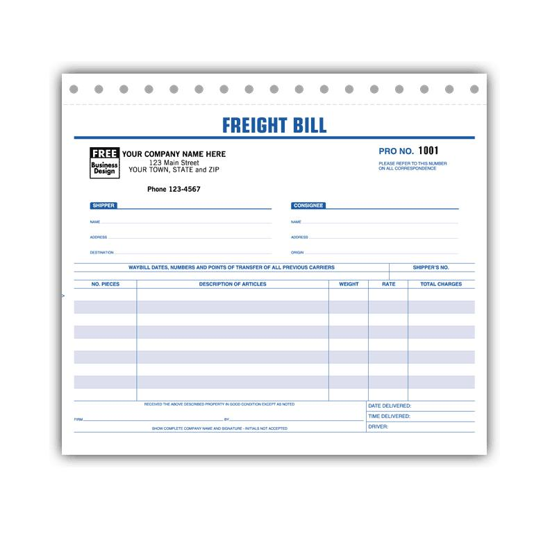 [Image: Freight Bills Carbonless Form]