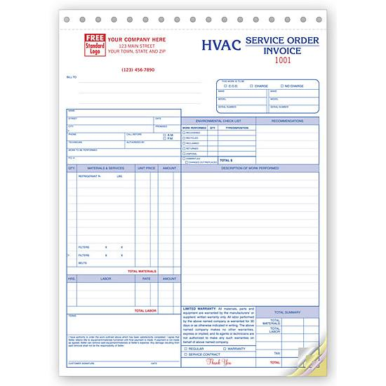 Hvac Contractor Invoice Form Custom Form Printing