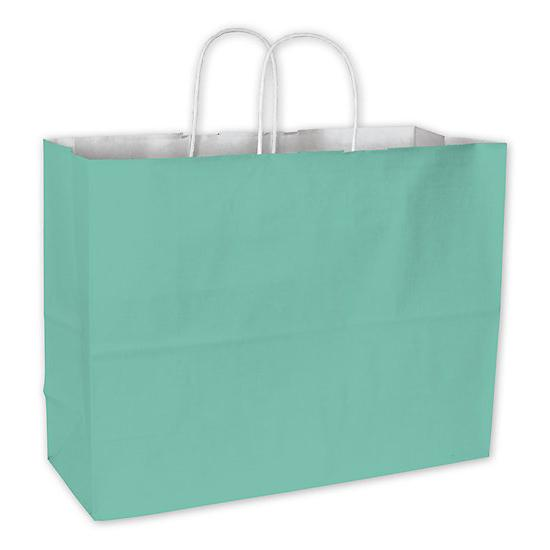 "[Image: Shopping Bag - Aqua Cotton Candy Shoppers Paper Bags, 16 X 6 X 12 1/2""]"