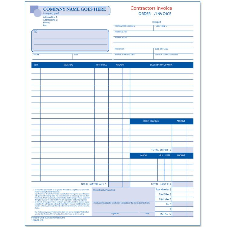General Contractor Invoice  Designsnprint