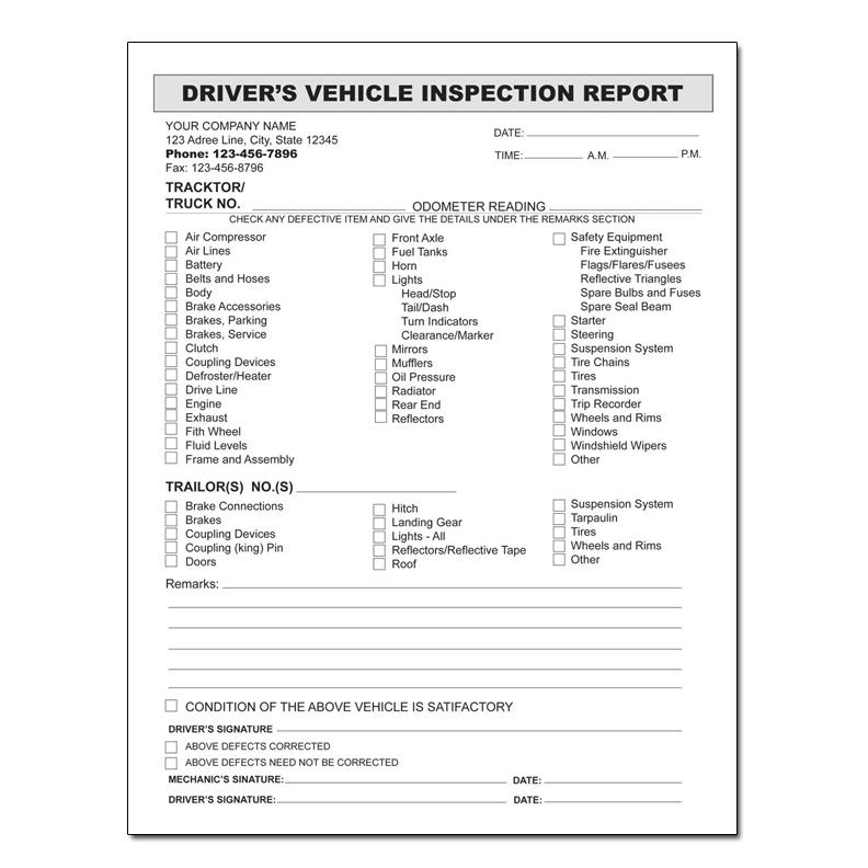 [Image: Driver Vehicle Inspection Report]