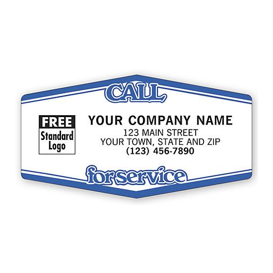 [Image: Call For Service Tuff Shield Labels, White With Blue]